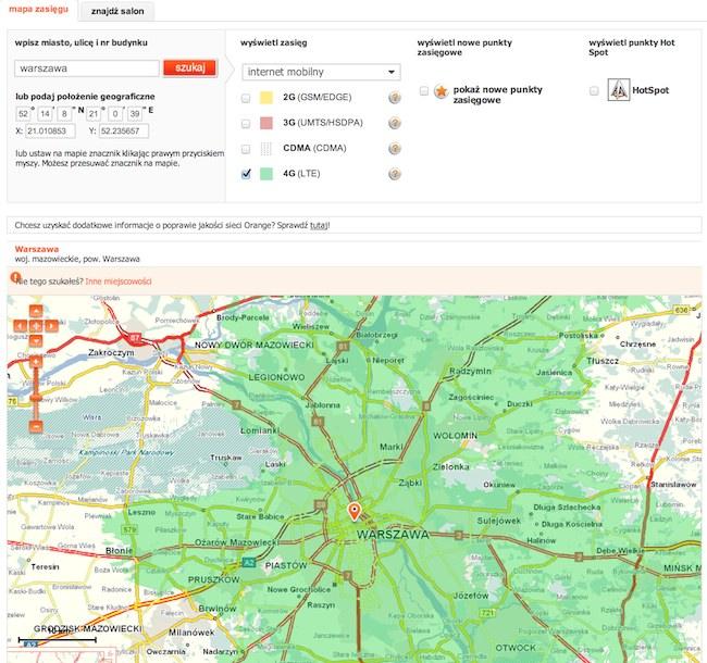 LTE w Orange - mapa zasięgu