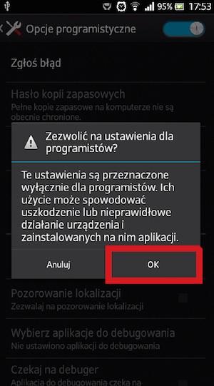Potwierdzenie włączenia opcji programisty