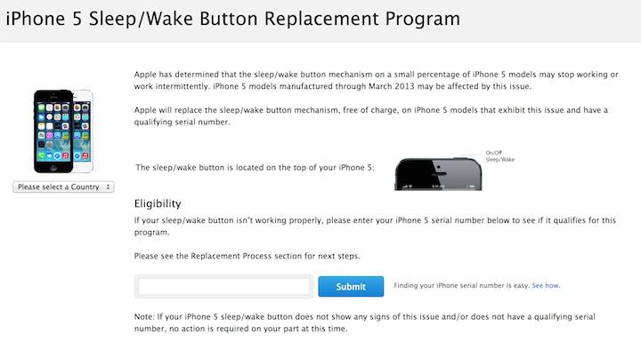 Program wymiany przycisków w iPhone'ach 5