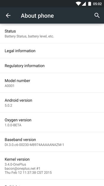 Zrzut ekranu z systemu OxygenOS