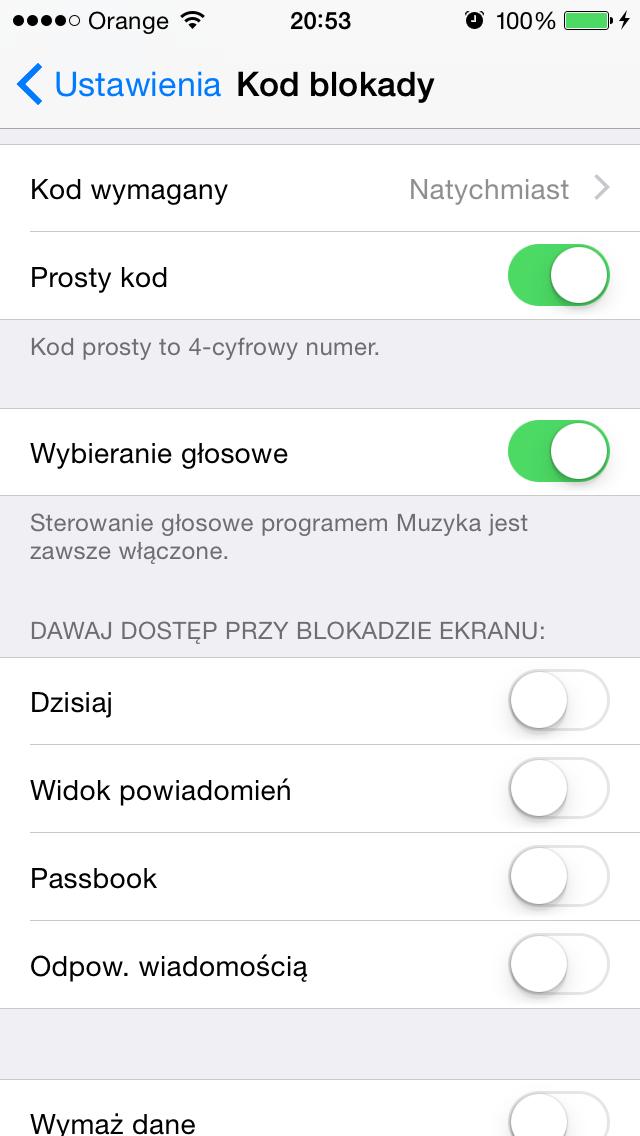 Kod blokady w iPhone'ie