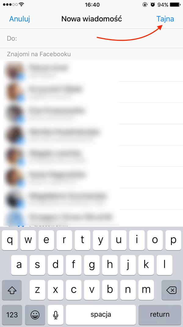 Nowa Tajna wiadomość w aplikacji Messenger