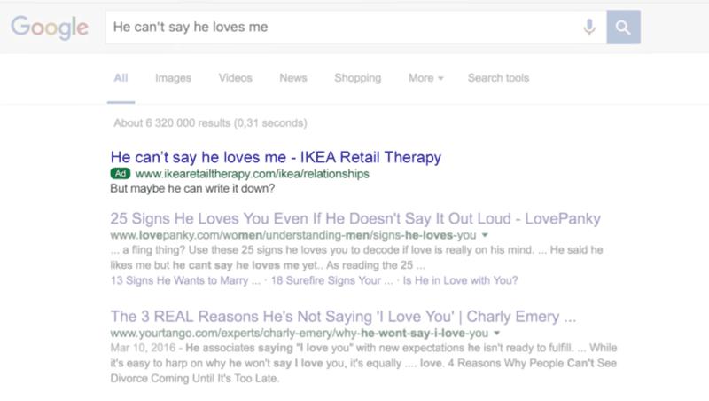 Kampania SEM sklepu Ikea (w ramach kampanii Retail Therapy)