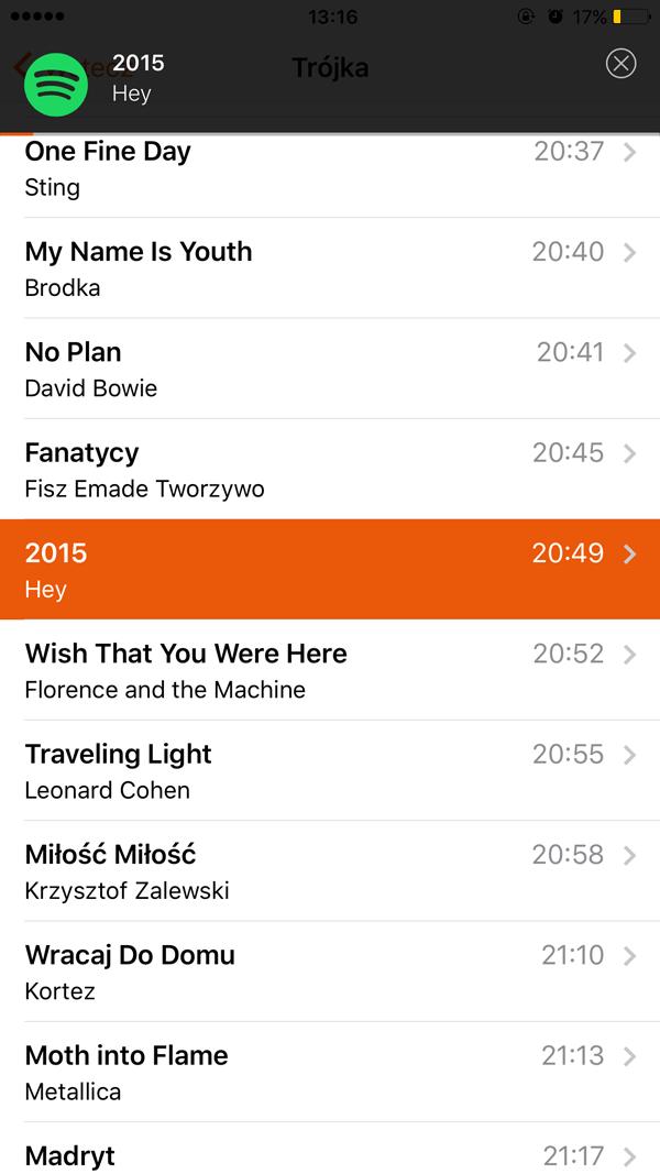 Odtwarzanie wyszukanych utworów w Recently Played (Spotify)
