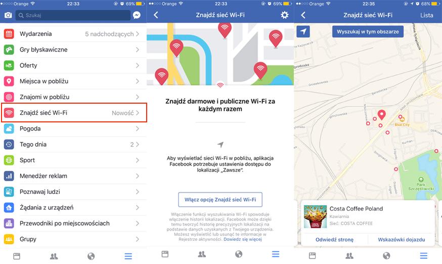 """Nowa opcja """"Znajdź Wi-Fi"""" na Facebooku"""