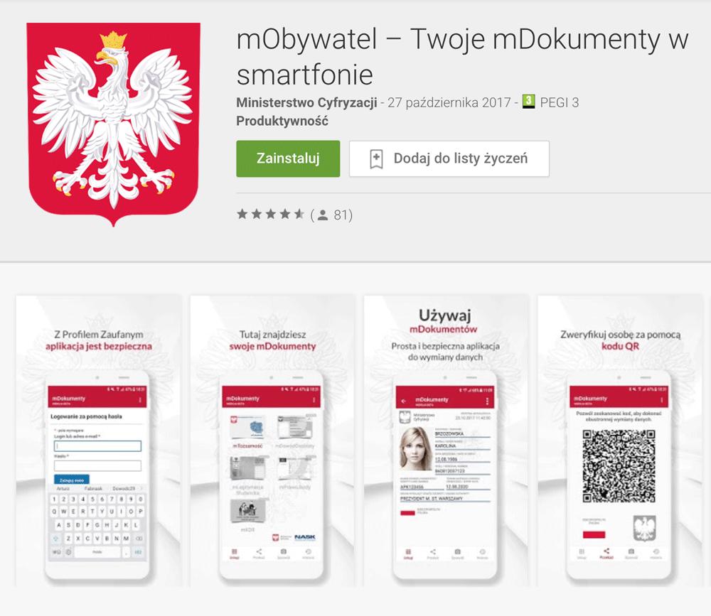 Aplikacja mobilna mObywatel na Androida