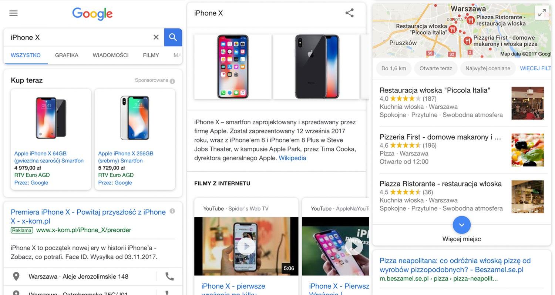 Screen mobilnych wyników wyszukiwania Google