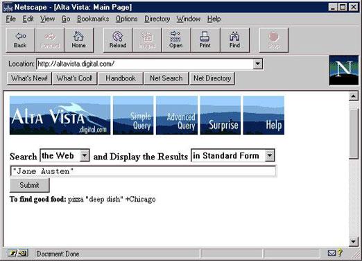 Pierwsza wyszukiwarka internetowa Alta Vista z 1995 r.