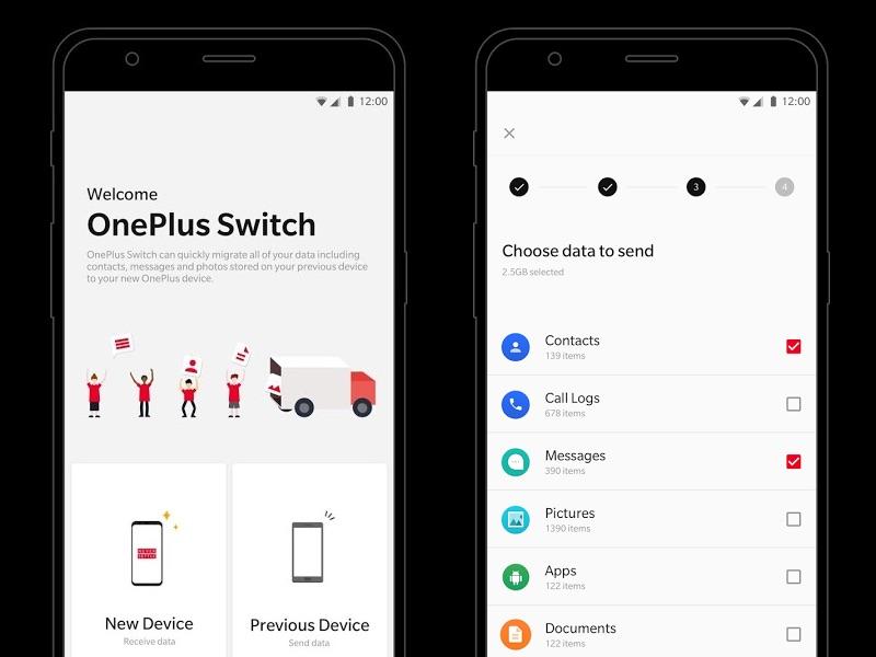 Screen aplikacji OnePlus Switch