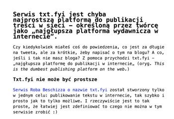 Przykład wpisu w serwisie txt.fyi (miniatura)