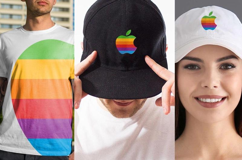 Kolorowe logo Apple na czapkach i koszulkach
