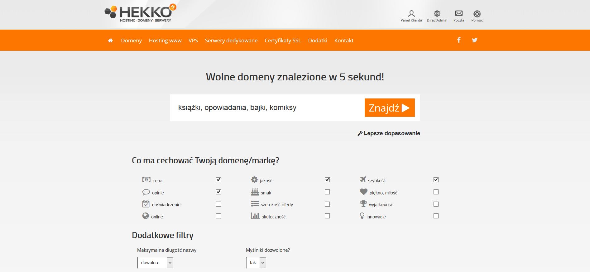 Generator nazw domenowych Hekko - zrzut ekranu