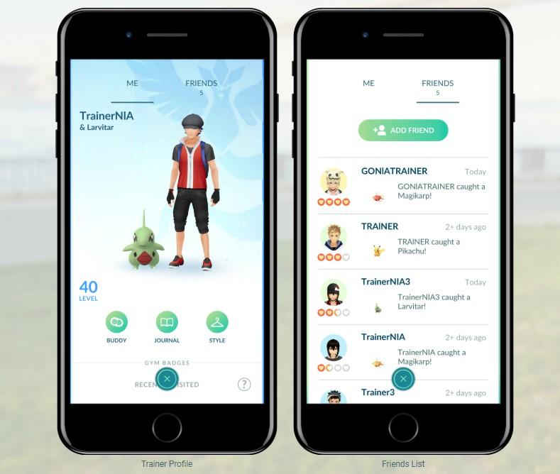 Lista znajomych w Pokemon GO