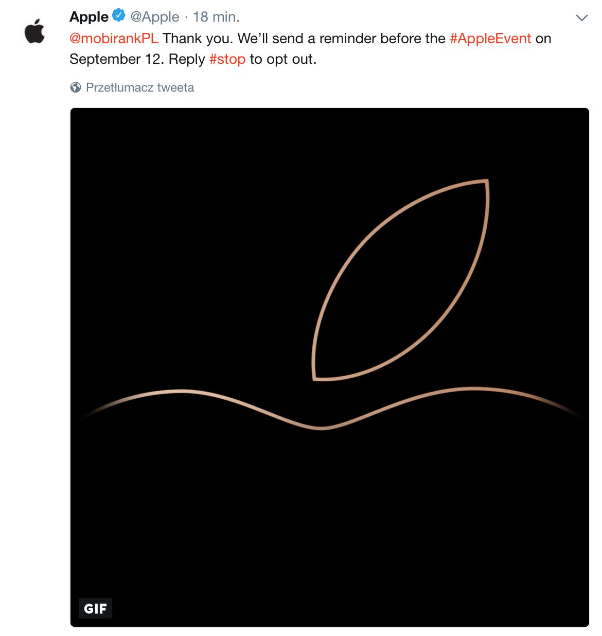 Automatyczna odpowiedź po polubieniu tweeta Apple'a o transmisji online #AppleEvent.