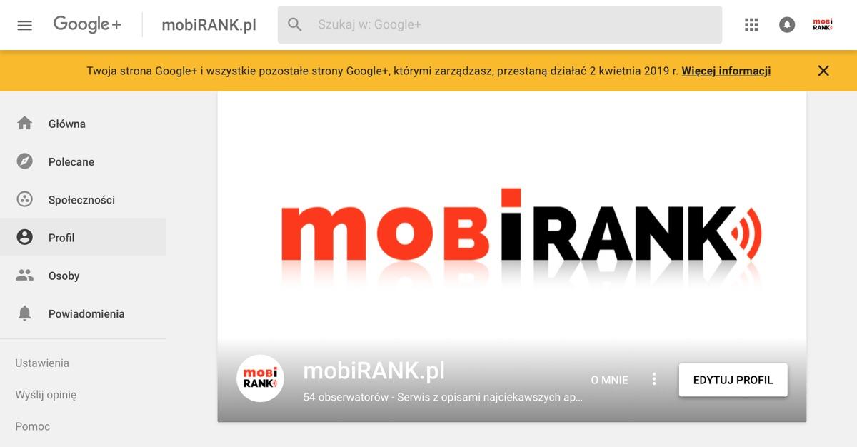 Informacja o wyłączeniu serwisu Google+ (powiadomienie)