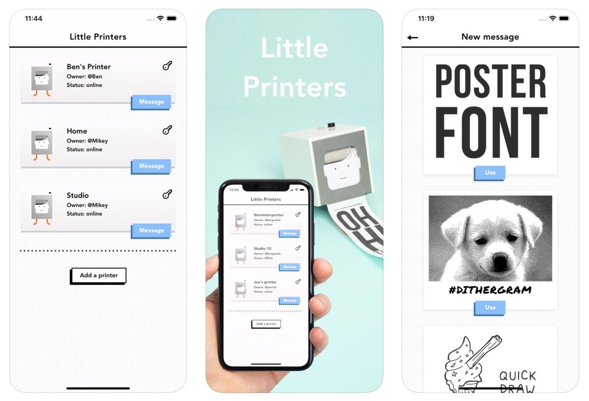 Zrzuty ekranu z aplikacji mobilnej Little Printers