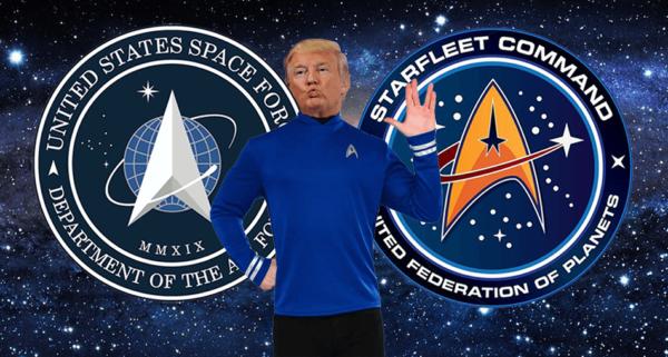 Logo US Space Force wyraźnie inspirowane Star Trekiem
