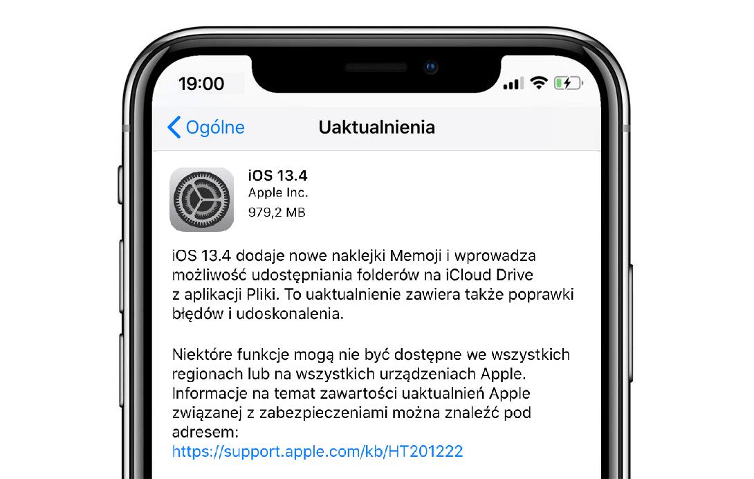 Finalna aktualizacja systemu iOS 13.4 (tryb OTA)