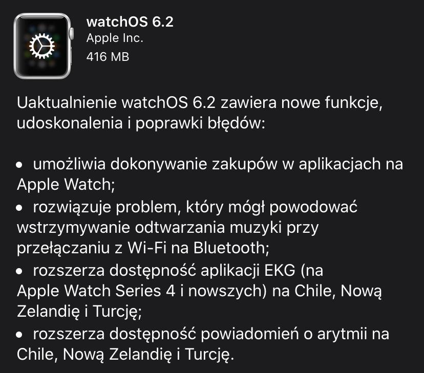 watchOS 6.2 - uaktualnienie - lista nowości