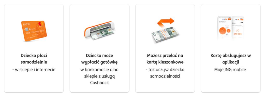 Zalety karty przedpłaconej dla dziecka (poniżej 13 lat) w ING Banku Śląskim