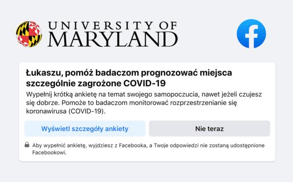 Facebook pyta użytkowników w ankiecie o miejsca szczególnie zagrożone COVID-19