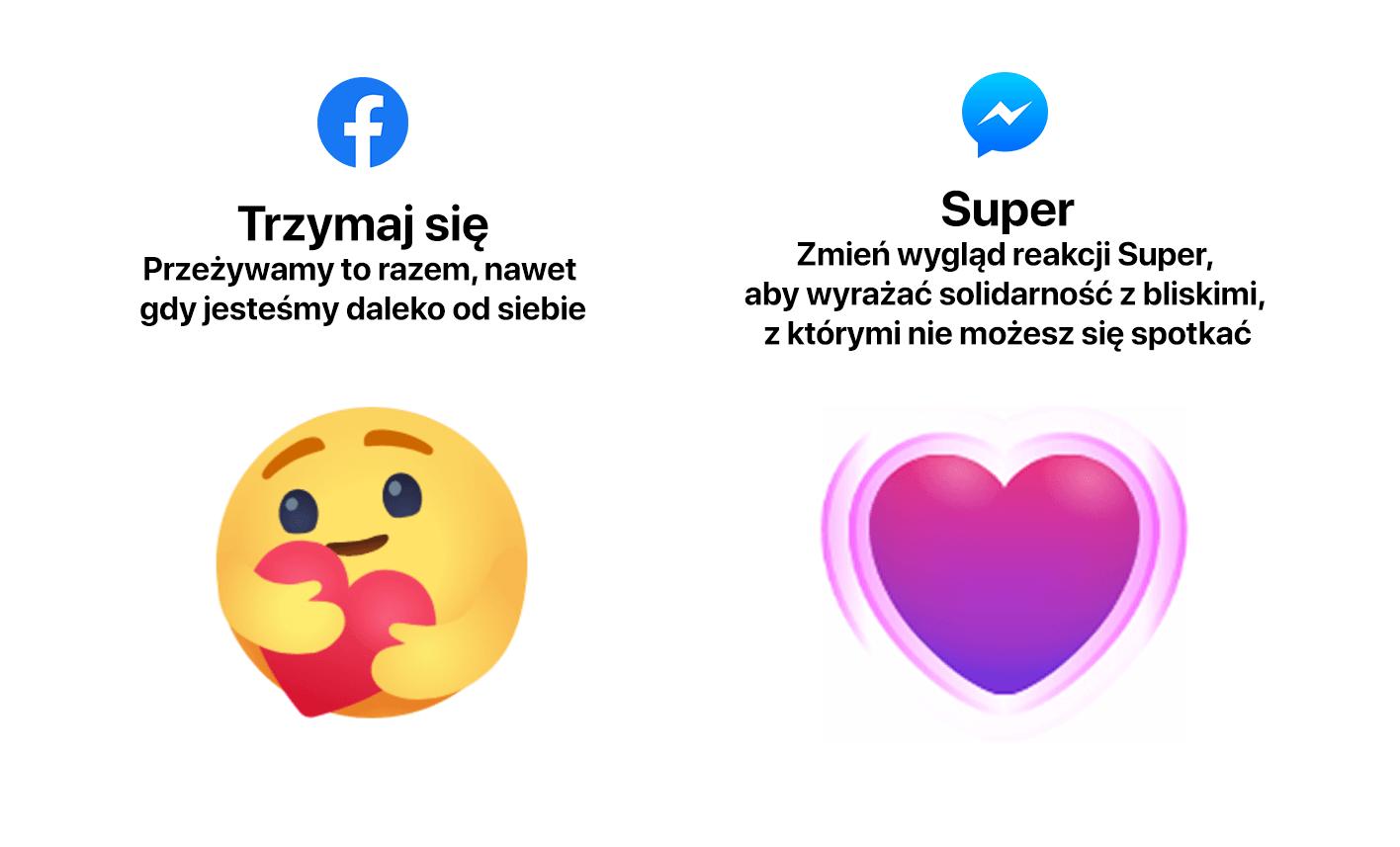 """Nowe reakcje """"Super"""" i """"Trzymaj się"""" na Messenegrze i Facebooku."""