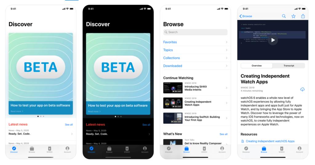 Zrzuty ekranu z aplikacji mobilnej Apple Developer