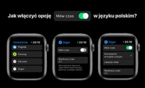 """Jak włączyć opcję """"Mów czas"""" w języku polskim na zegarku Apple Watch?"""
