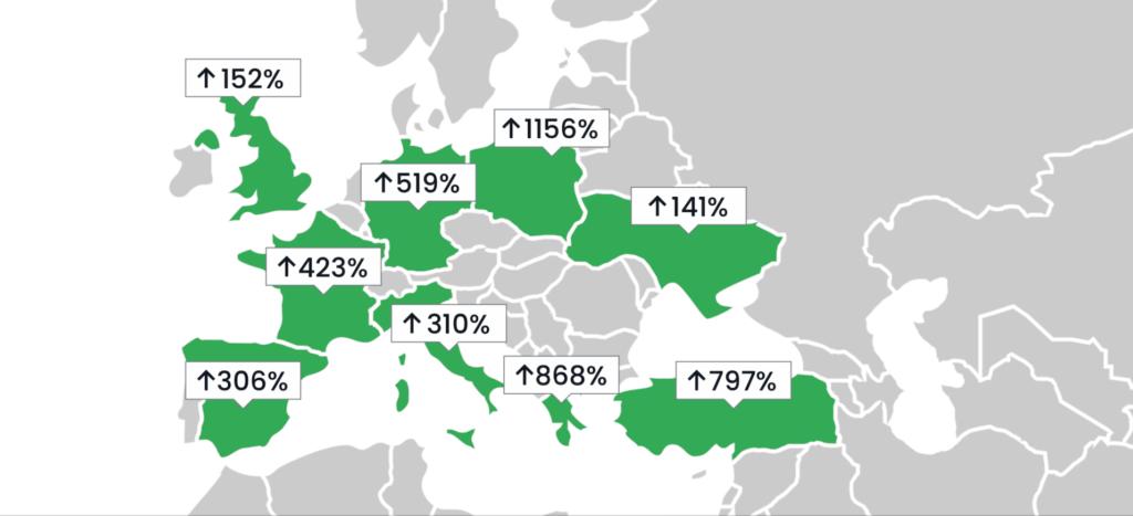 Mapa wzrostu wykorzystania webinarów w Europie podczas pandemii COVID-19