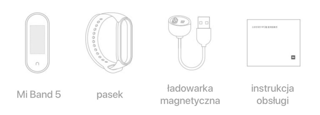 Opaska fitness Xiaomi Mi Band 5 – zawartość opakowania