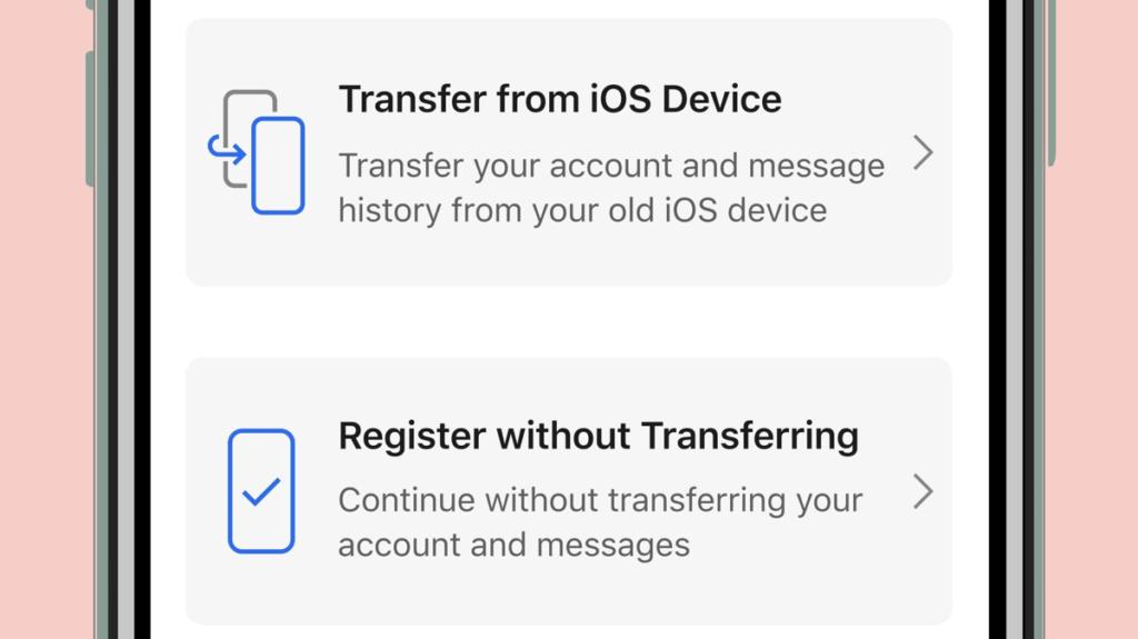 Opcja transferu danych na urządzeniach z systemem iOS/iPadOS z aplikacji Signal