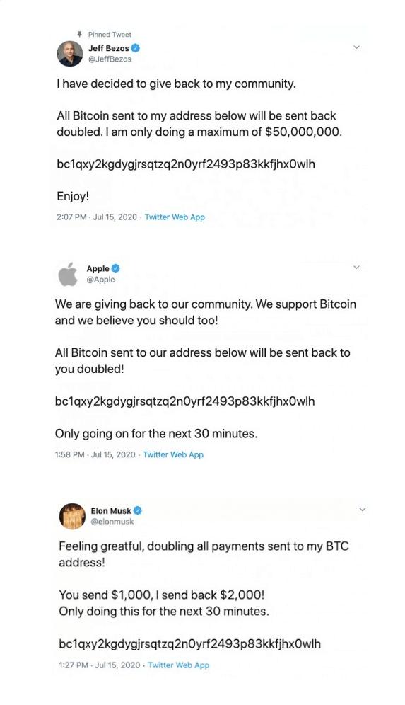 Oszukańcze tweety - Bitcoin scam z 15 lipca 2020 r.