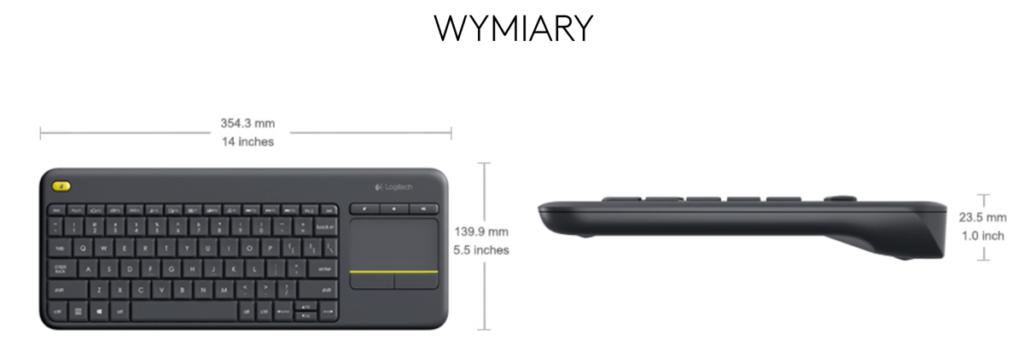 Wymiary klawiatury Media Wireless Touch Keyboard K400 Plus