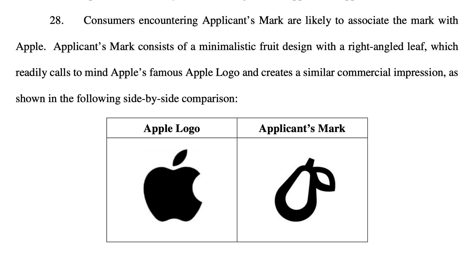 Fragment wniosku z sprzeciwem Apple'a  dot. logo Prepear
