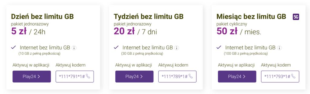 Pakiety internetu bez limitu w Play na kartę
