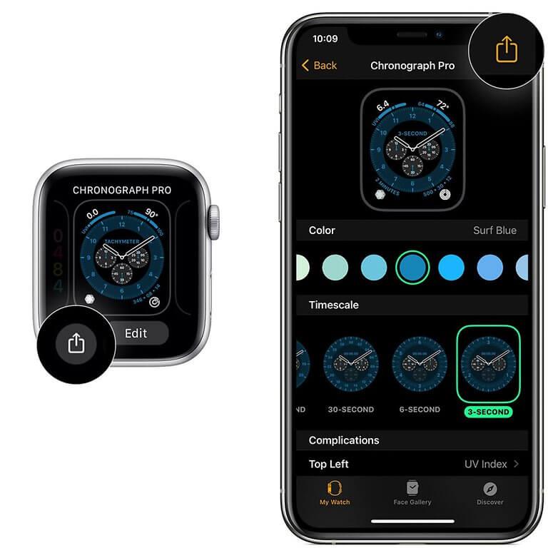 Udostępnianie tarczy zegarka Apple Watch pod systemem watchOS 7