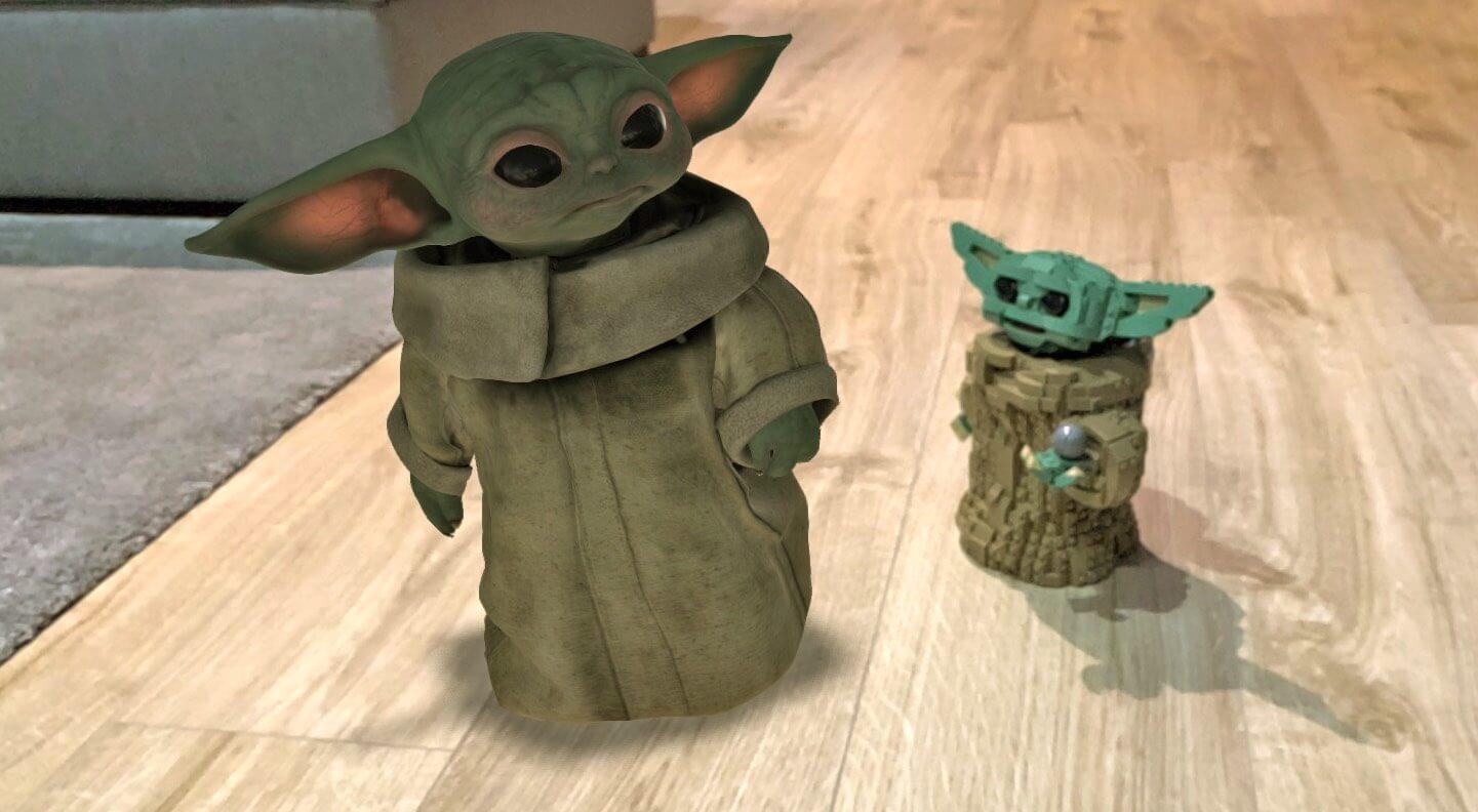 Baby Yoda (Grogu) w rozszerzonej rzeczywistości (AR)