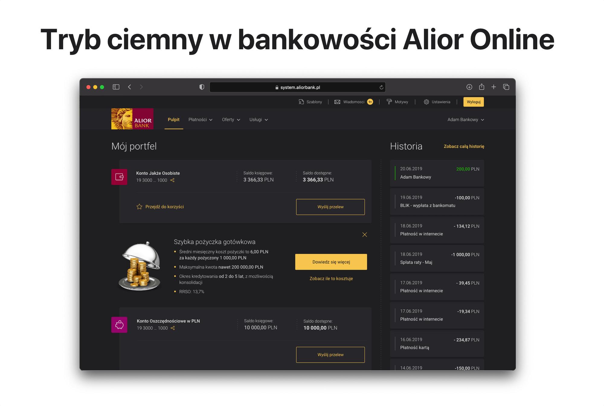 Tryb ciemny (dark mode) w Alior Online